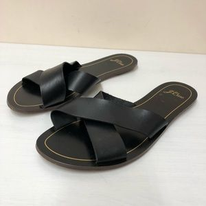 J.Crew Cyprus Black leather Crisscrossed slide 11